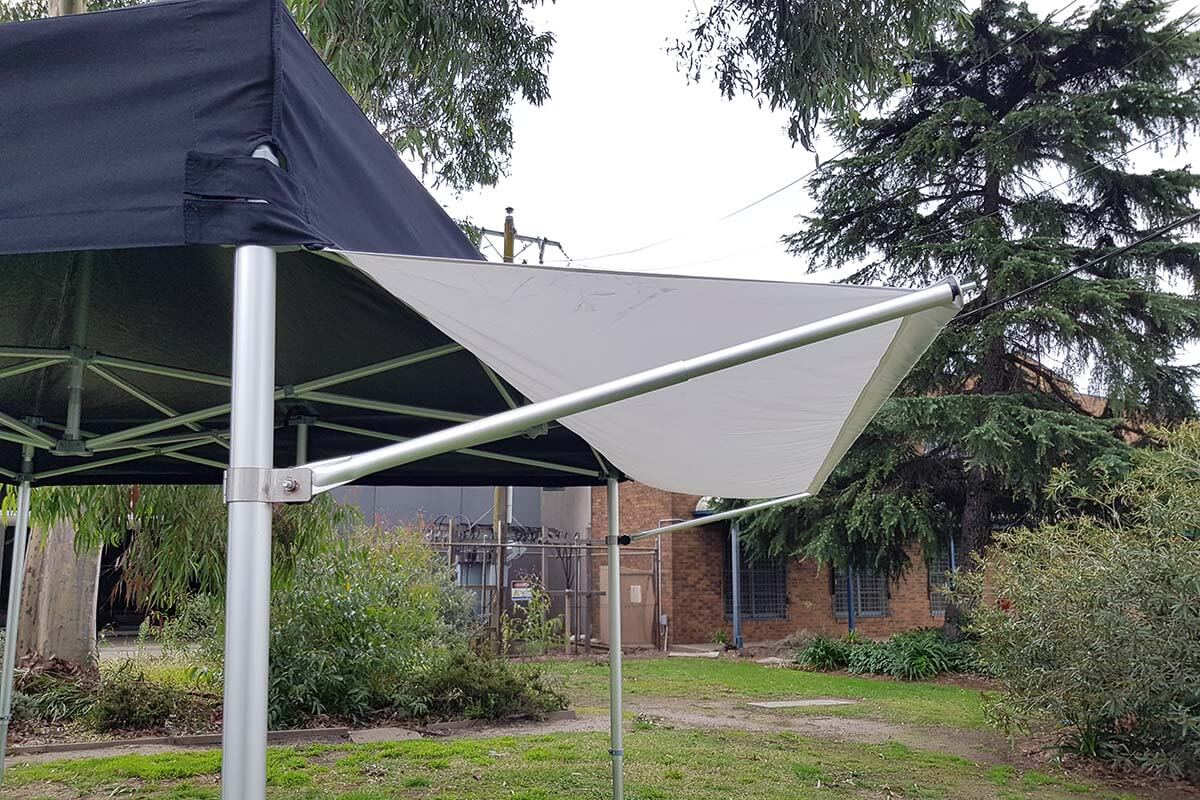 Marquee awning set up